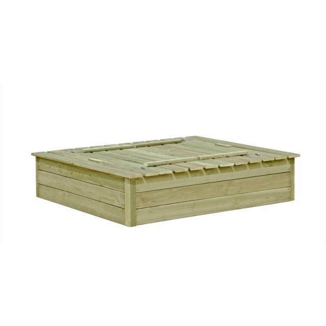 sandkasten mit abdeckung und sitzb nken 120x120x25cm. Black Bedroom Furniture Sets. Home Design Ideas