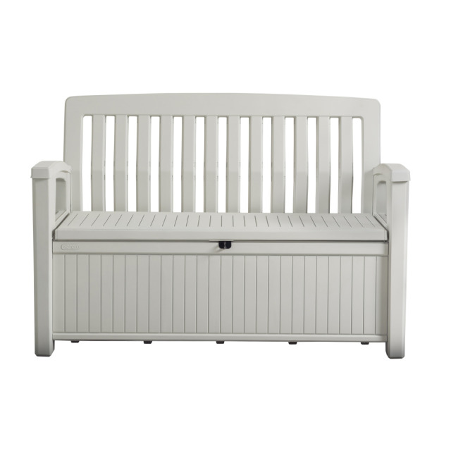 Patio Bench Box Weiss 132.7 x 61.2 x 89 cm