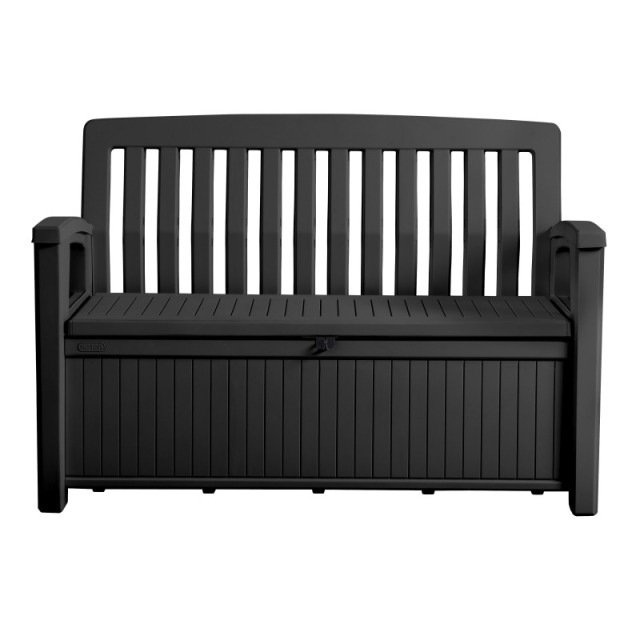Patio Bench Box Grau 132.7 x 61.2 x 89 cm