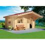 Blockhaus LUCA inkl Dachp.inkl.Heimlie 450x360x216/275 cm, (Türe im Pack)